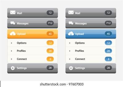 Vector web design navigation menu in two colors