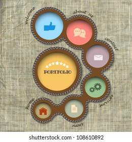 Vector web design template. Retro style