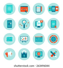 Vector web development and digital marketing icons in flat style - illustrations and signs on circle background