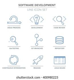 Vector web icons set Agile Software development blue outlines.