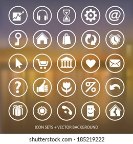 Vector web and mobile interface template.  Flat Icons on blurred background.