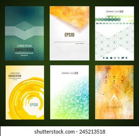 Vector web and mobile interface template. Corporate website design. Abstract vector brochure, Web sites, page, leaflet, with colorful geometric triangular backgrounds, logo and text separately.