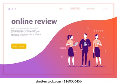 Vector web page concept design with online review theme. Office people stand watching on mobile device screen - laptop, tablet, smartphone. Thumb up, stars line icons. Landing page, mobile app, site.