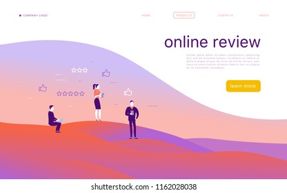 Vector web page concept design with online review theme. Office people stand with gadgets - laptop, tablet, smartphone - give stars rating. Thumb up, stars line icons. Landing page, mobile app, site.