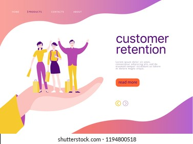 Vector web page concept design - customer retention theme. Buying happy people with sale bag stand on big human hand. Landing page, mobile app, site template. Business illustration. Inbound marketing.