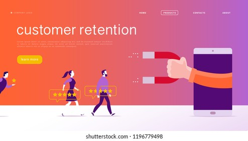 Vector web page concept design, customer retention theme. People give star rating positive feedback, human hand, magnet. Landing page mobile app site template. Business illustration. Inbound marketing