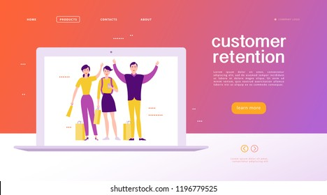 Vector web page concept design - customer retention theme. Buying happy people with sale bag on big laptop screen. Landing page, mobile app, site template. Business illustration. Inbound marketing.