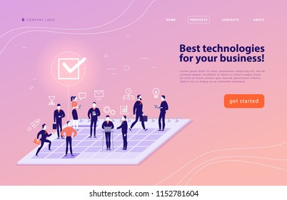 Vector web page design template for complex business solutions, project support, online consulting, modern technologies, time management, planning. Landing page. Mobile app. Flat concept illustration.