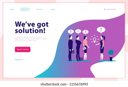 Vector web page design template - complex business solution, project support, online consult, modern technology, service, time management, planning. Landing page. Mobile app. Flat concept illustration