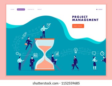 Vector web page template for business communication, workflow, online consulting, time management, team work. Landing page design. Office people work together. Banner, mobile app illustration concept.