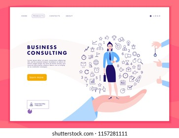 Vector web page template for time management project, business communication, consulting, planning. Landing page design. Business lady stand on human hand. Web banner, mobile app illustration concept.