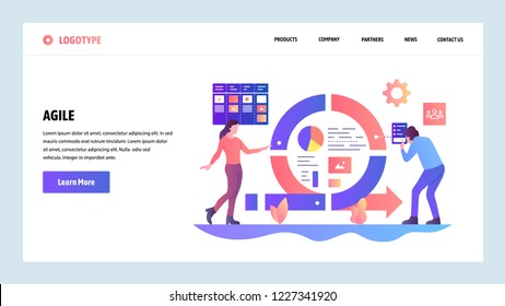Vector web site design template. Agile project management and Scrum task board. Agile software development and Kanban. Landing page concepts for website and mobile development. Flat illustration.
