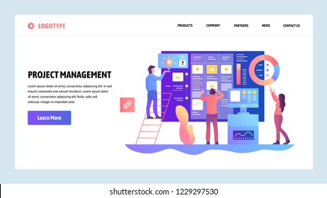 Vector web site design template. Agile project management and business teamwork. Landing page concepts for website and mobile development. Modern flat illustration.