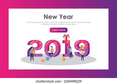 Vector web site design template. Christmas and New Year 2019 party holiday. 2019 year landing page concepts for website and mobile development. Modern new flat illustration.  - Vector