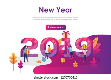Vector web site design template. Christmas and New Year 2019 party holiday. 2019 year landing page concepts for website and mobile development. Modern new flat illustration.