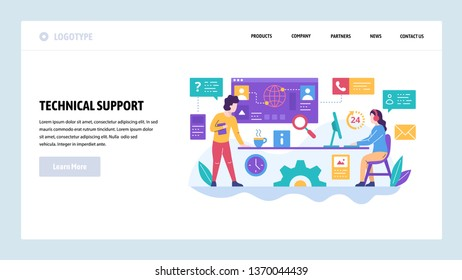 Vector web site design template. Call center and technical support hotline, customer help service. Landing page concepts for website and mobile development. Modern flat illustration.
