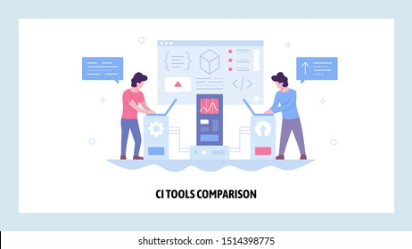 Vector web site design template. Continuous Integration CI software development. Agile methodology of coding. Landing page concepts for website and mobile development. Modern flat illustration.