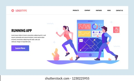 Vector web site gradient design template. Fitness tracker and running mobile phone app. Landing page concepts for website and mobile development. Modern flat illustration.