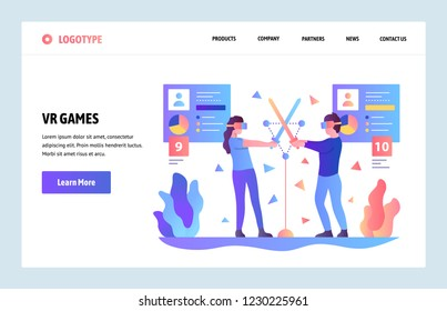 Vector web site gradient design template. Virtual (VR) and augmented reality games and applications. Landing page concepts for website and mobile development. Modern flat illustration.