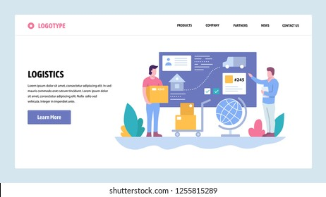 Vector web site gradient design template. Tracking and delivery service. Package shipping. Landing page concepts for website and mobile development. Modern flat illustration