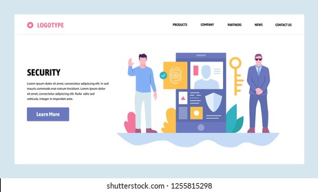 Vector web site gradient design template. Cyber security and secure access. Mobile phone fingerprint login. Landing page concepts for website and mobile development. Modern flat illustration