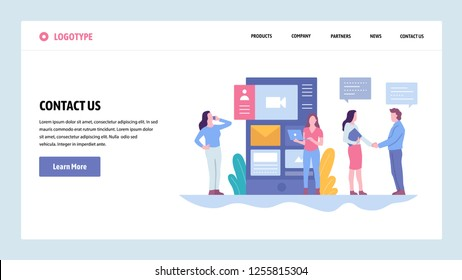 Vector web site gradient design template. Contact Us company information page. Landing page concepts for website and mobile development. Modern flat illustration