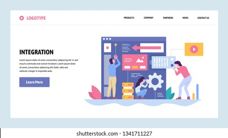 Vector web site gradient design template. Software and website development. Team building new app integration. Landing page concepts for website and mobile development. Modern flat illustration