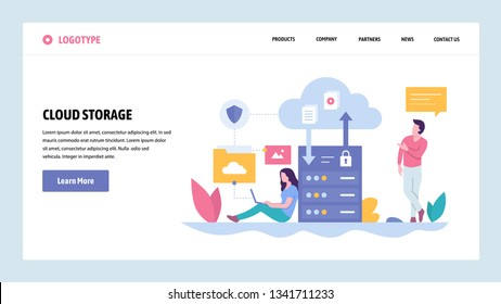 Vector web site gradient design template. Cloud storage server technology. Secure data upload and download. Landing page concepts for website and mobile development. Modern flat illustration