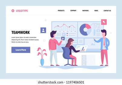Vector web site linear art design template. Business team working together with finance dashboard in office. Landing page concepts for website and mobile development. Modern flat illustration.