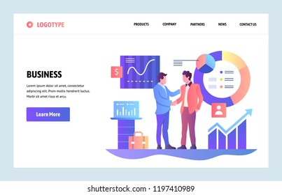 Vector web site linear art design template. Business partnership concept. Businessmen cut a deal with finance charts on background. Landing page for website and mobile development. Flat illustration