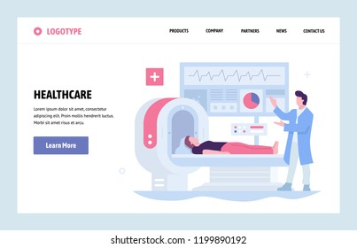 Vector web site linear art design template. Healthcare and medical research. Doctor makes medical check up with MRI tomography. Landing page for website and mobile development. Modern illustration