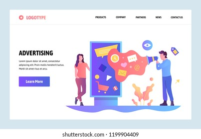 Vector web site linear art design template. Digital advertising and online marketing. Outdoor ads. Landing page concepts for website and mobile development. Modern flat illustration.