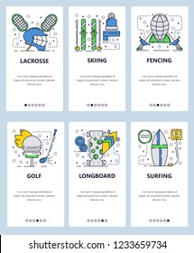Vector web site linear art onboarding screens template. Professional sport icons, lacrosse, golf, skiing, fencing, longboard and surfing. Menu banners for website and mobile app development.