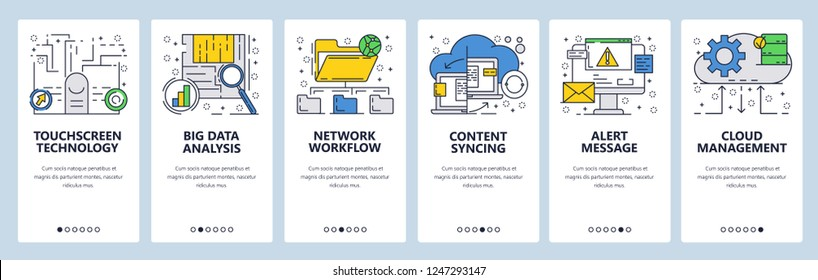 Vector web site linear art onboarding screens template. Online cloud services, touchscreen and syncing technologies and big data analysis. Menu banners for website and mobile app development
