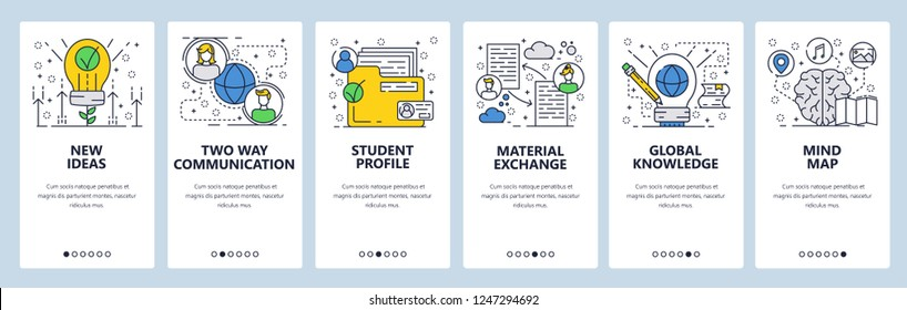 Vector web site linear art onboarding screens template. New eco ideas, people communication, profile folder, documents exchange and knowledge mind map. Menu banners for website and mobile app