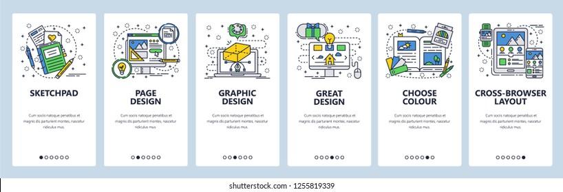 Vector web site linear art onboarding screens template. Computer graphic design and digital art. Menu banners for website and mobile app development. Modern design flat illustration