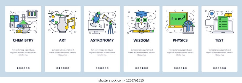 Vector web site linear art onboarding screens template. School education, chemistry, physics, art, test, exam, wisdom. Menu banners for website and mobile app development. Design flat illustration