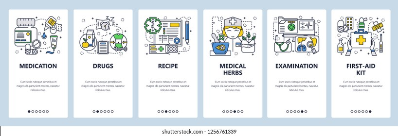 Vector web site linear art onboarding screens template. Healthcare and medicine icons. Drugs, first aid kit, nurse. Menu banners for website and mobile app development. Modern design flat illustration