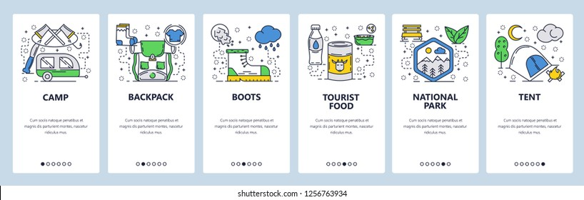 Vector Web Site Linear Art Onboarding Screens Template Outdoor Travel Hiking And Camping