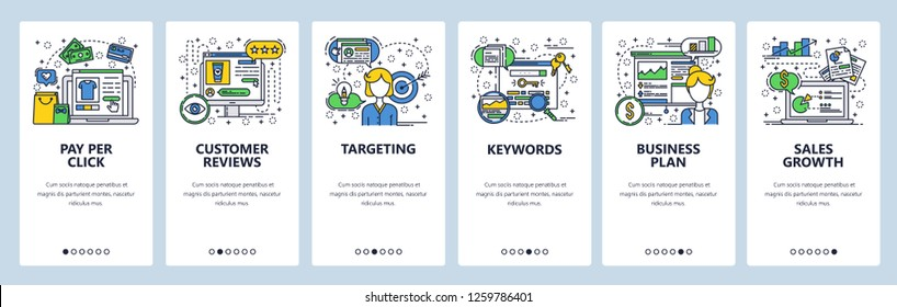 Vector web site linear art onboarding screens template. Digital marketing and online advertising. Pay per click ads. Menu banners for website and mobile app development. Design flat illustration