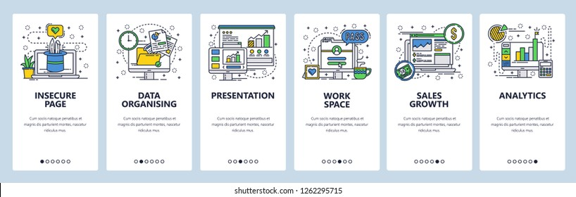 Vector web site linear art onboarding screens template. Business analytics and financial report presentation with charts. Menu banners for website and mobile app development. Design flat illustration