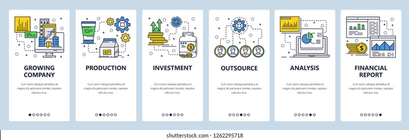 Vector web site linear art onboarding screens template. Business and money investment. Financial report and charts. Menu banners for website and mobile app development. Modern design flat illustration
