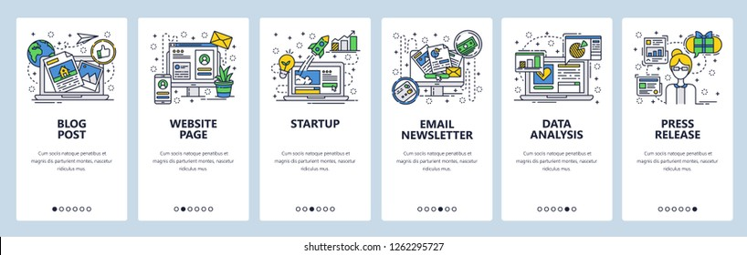Vector web site linear art onboarding screens template. Startup launch, online blog post, email newsletter, data analysis. Menu banners for website and mobile app development. Design flat illustration