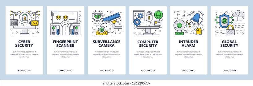 Vector web site linear art onboarding screens template. Internet cyber security, fingerprint secure login, surveillance camera. Menu banners website mobile app development. Design flat  illustration