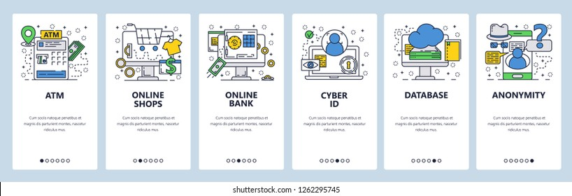 Vector web site linear art onboarding screens template. Atm, online banking and shopping, cyber ID and anonymity. Menu banners for website and mobile app development. Modern design flat illustration