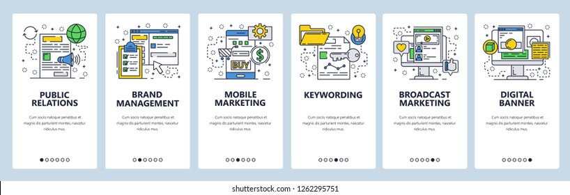 Vector web site linear art onboarding screens template. Digital marketing and advertising. PR, Brand management and mobile marketing. Menu banners for website app development. Design flat illustration