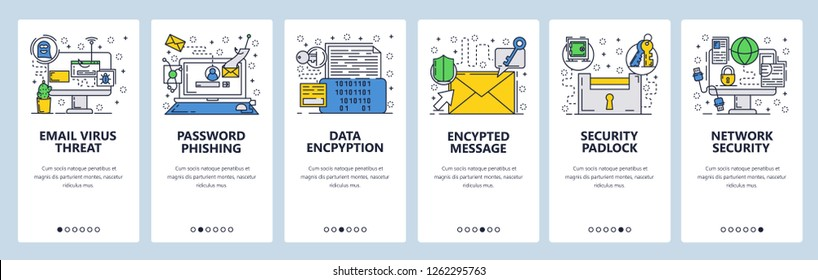 Vector web site linear art onboarding screens template. Internet cyber security, email scam. Virus protection, data encryption. Menu banners website mobile app development. Design flat illustration