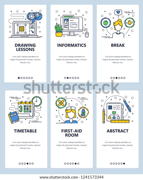 1bd970975 Vector web site linear art onboarding screens template. Drawing lessons and  online education. Nurse