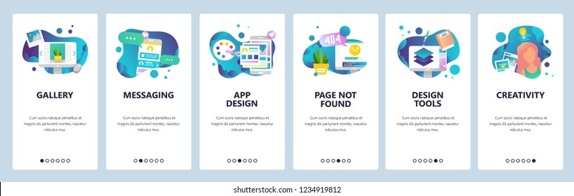 Vector web site onboarding screens template. Design creative tools and software. Mobile online Messaging app and Page not found error. Menu banners for website and mobile app development.