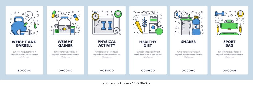 Vector web site onboarding screens template. Fitness gym accessories. Weights, barbell, protein gainer, sport food, diet. Menu banners for website and mobile app development. Design flat illustration